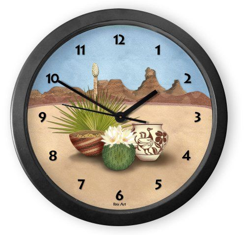 From our Southwestern Clocks category, Desert Treasures Round Acrylic Wall Clock is inspired by the rock formations and cacti found in the Southwestern desert. In the foreground are blooming cactus, Native American pottery and baskets. Each clock is handcrafted in our Santa Fe, New Mexico studio. This clock has a second hand and makes a ticking sound.$34.50