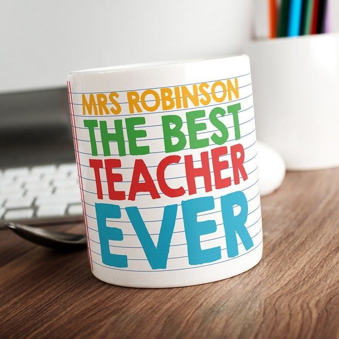 Personalised Mug - Best Teacher Ever. This lovely mug will let everyone know that your teacher is the best at what they do! A brilliant gift for the end of term. Available at gettingpersonal.co.uk- FAST UK DELIVERY