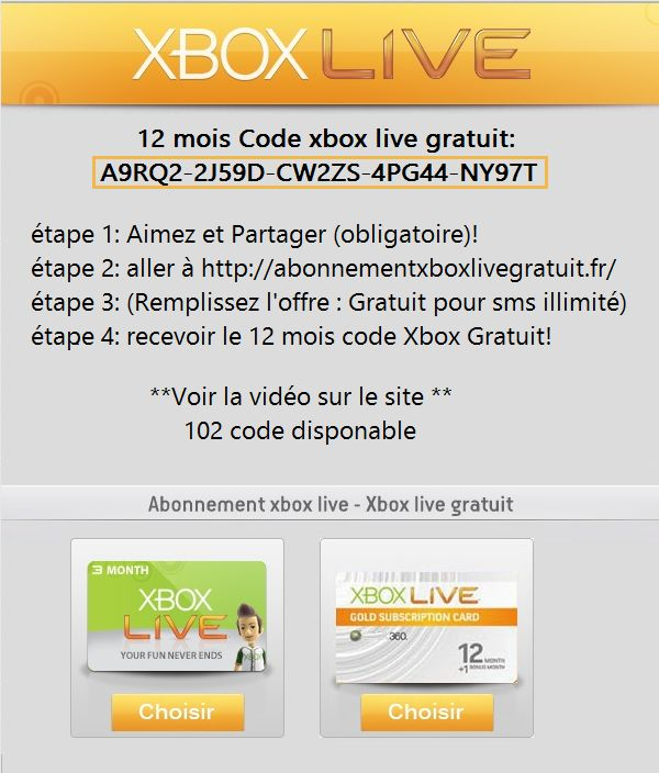 code live gratuit 12 mois xbox live gold gratuit. Black Bedroom Furniture Sets. Home Design Ideas