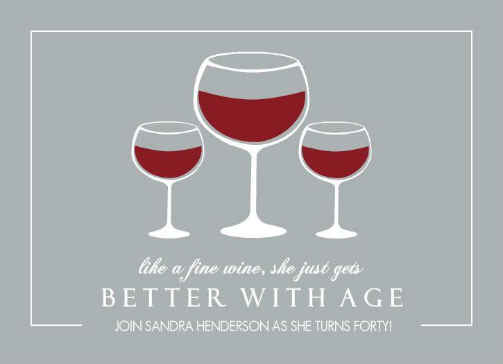 Fine Wine 40th Birthday Invitation By Purpletrail Com