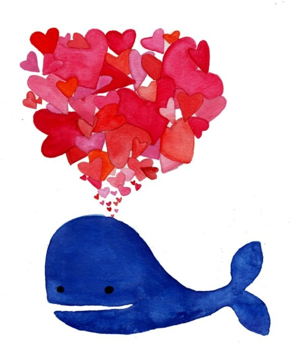 Whale Love - 8x10 Watercolor Print. $20.00, via Etsy.
