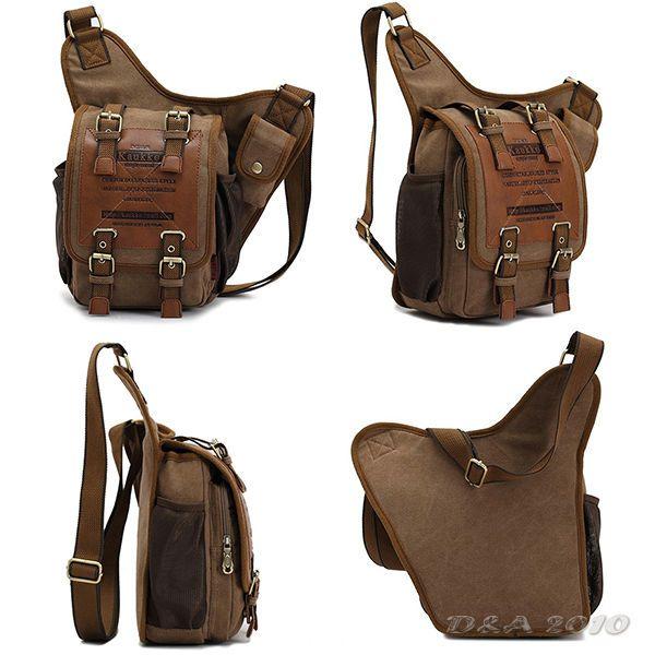 Mens Boys Vintage Canvas Leather Shoulder Military Messenger Briefcases Bag | eBay