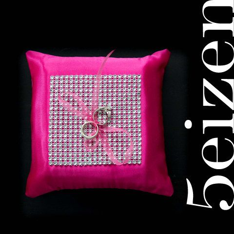 Glam Series I - Diamond/Rhinestone Hot Pink Wedding Ring Pillow. $45.00, via Etsy.