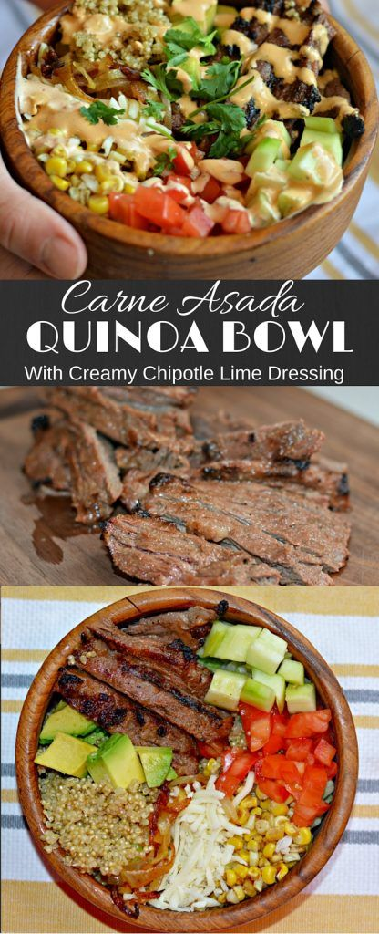 This Carne Asada Quinoa Bowl is delicious an has the perfect combination of fresh flavors and juicy and tender pieces of carne asada. It is sure to be a hit! #BlockPartyHero #Ad @Sam