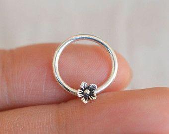 septum ring,nose ring,sterling silver nose ring,septum clicker,flower nose ring