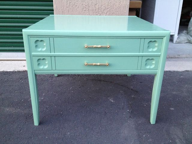 Nightstand sprayed with Rustoleum Sea Foam Green.  Another great color…