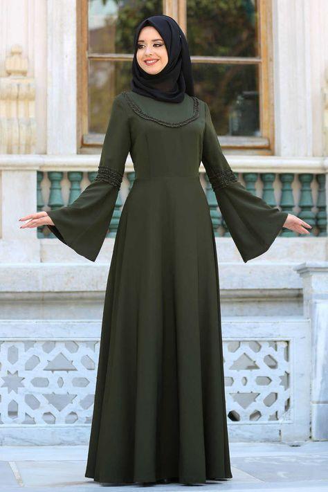 NEVA STYLE - Neva Style - Volan Kol Haki Tesettür Elbise 41580HK