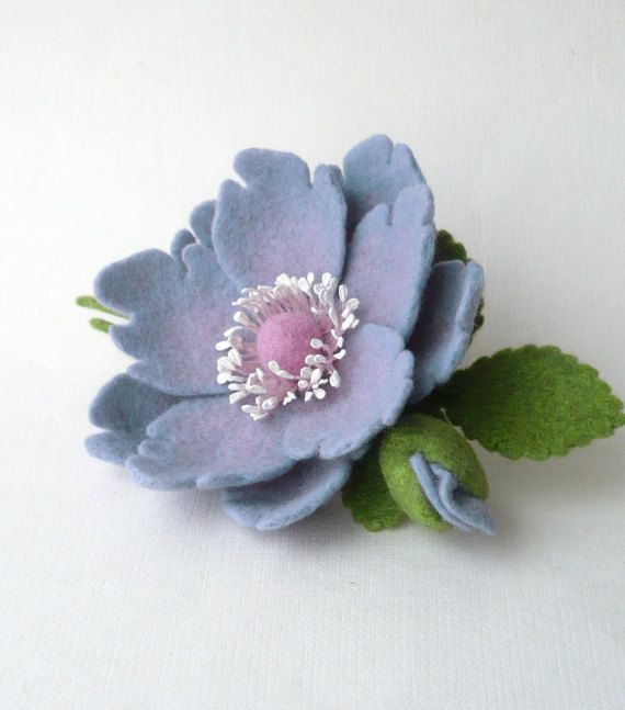 Felted brooch pin lavender lilac flower and flower by Roltinica
