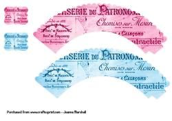 French Advertisement Cup Cake Wrappers   Toppers on Craftsuprint - View Now!