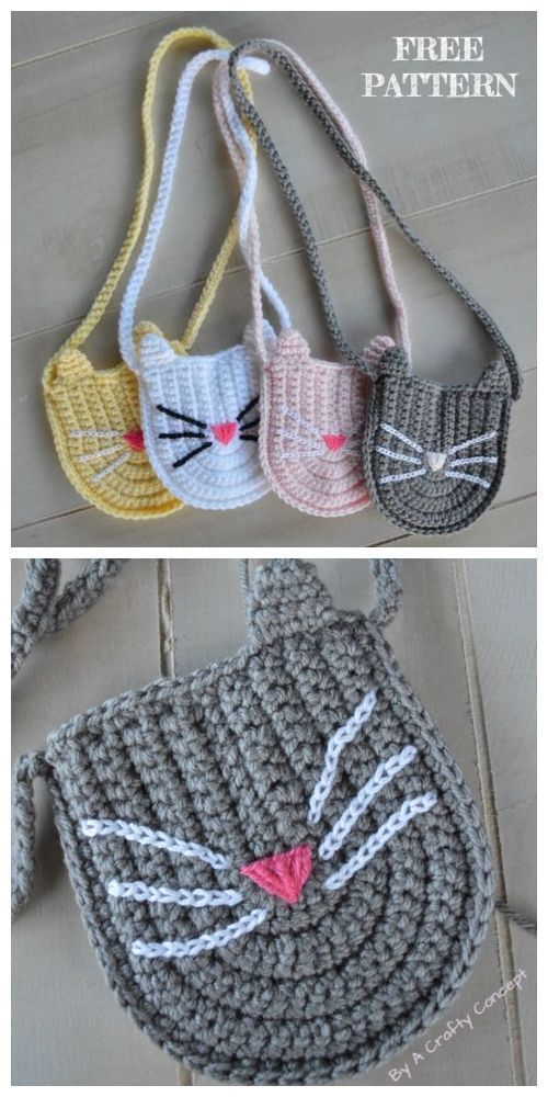 Crochet Cat Purse Kostenlose Häkelanleitungen #crochet #hakel Tutorials #food