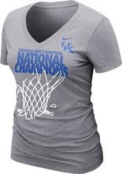 Kentucky Wildcats Women's Grey Nike 2012 NCAA Basketball National Champions Official Locker Room V-Neck T-Shirt
