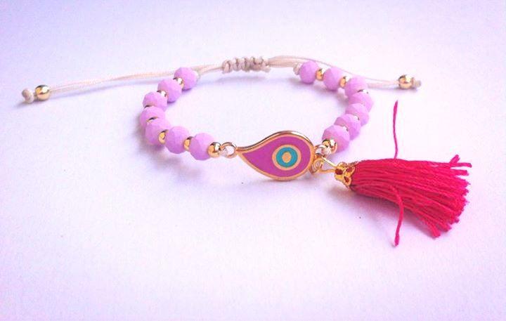Βραχιόλι με ματ χάντρες και φουντάκι - Handmade bracelets Spring-Summer 2015
