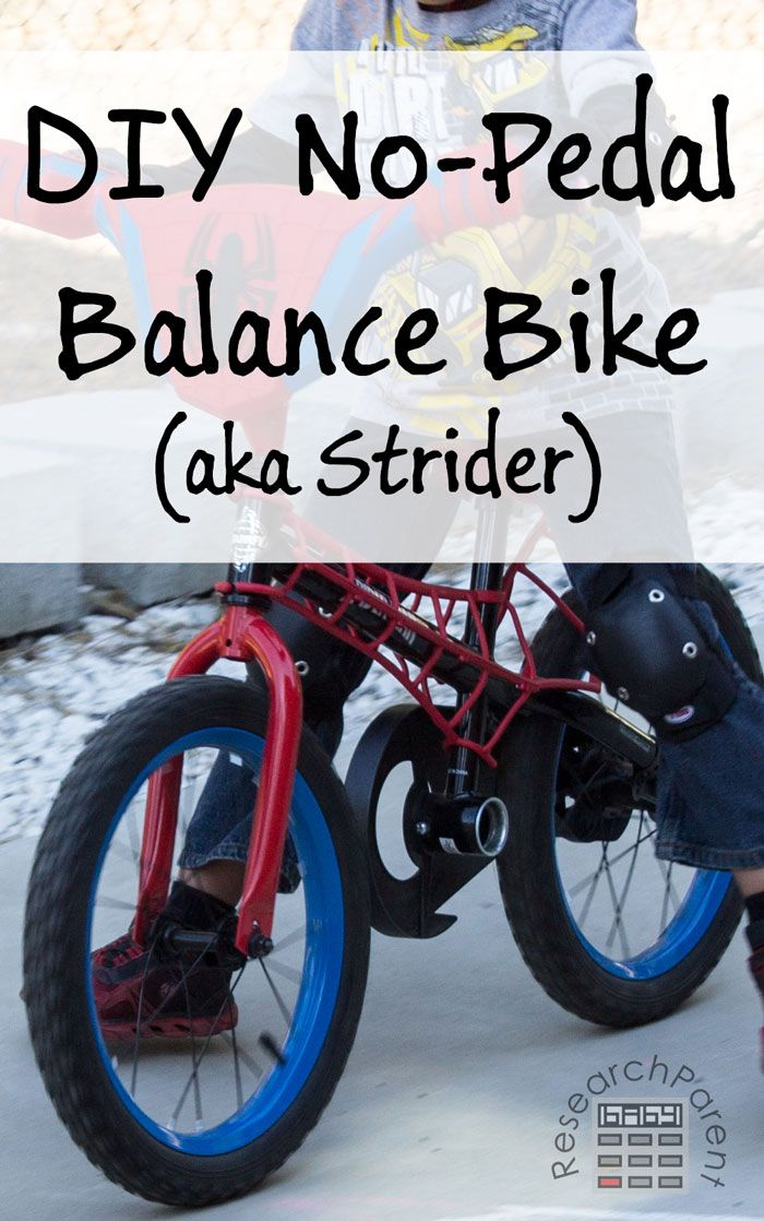 Step-by-step picture tutorial for removing pedals from a kid's bike to turn it into a no-pedal balance bike (aka Strider bike) via @researchparent