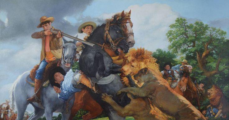 Buy Lion hunt 2 by Serhii Spodieniuk #art #Painting