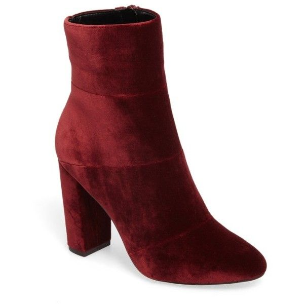 Women's Bcbg Coral Bootie (465 RON) ❤ liked on Polyvore featuring shoes, boots, ankle booties, wine velvet, bootie boots, block heel boots, short boots, block heel bootie and wrap boots