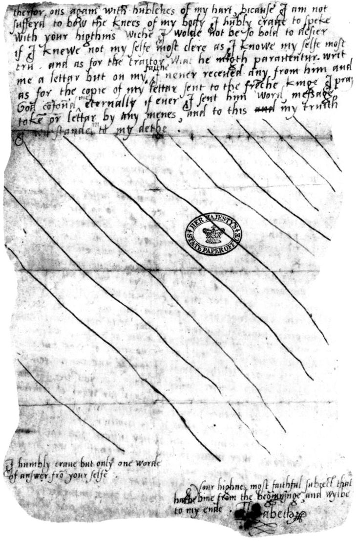 """This is the second page of the letter. Elizabeth drew large lines across the blank parts of the letter to prevent anyone from adding anything to it. It was called the """"tide letter"""" since Elizabeth was to sail with the tide to the Tower and by delaying, they missed it. In the letter, Elizabeth begs her sister for an audience."""
