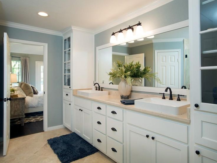As part of the renovation, an oversized master bath got divided into two: a new guest bath and this newly remodeled master.