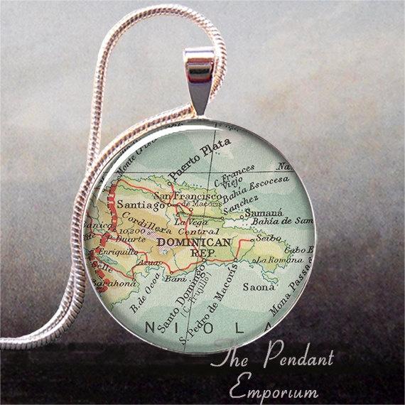Dominican Republic map pendant, Dominican Republic necklace charm, vintage map charm. $8.95, via Etsy.