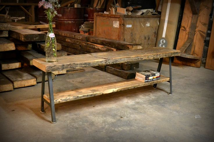 Salvaged Wood and Recycled Iron A-frame Benches by RecycledBrooklyn on Etsy https://www.etsy.com/listing/123377325/salvaged-wood-and-recycled-iron-a-frame