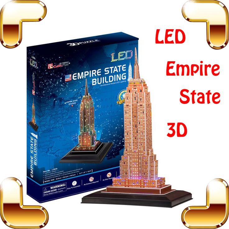 New Year Gift Empire State Building 3D Puzzle Model Building LED High-rise Models DIY Handmade Education Toys Decoration Present
