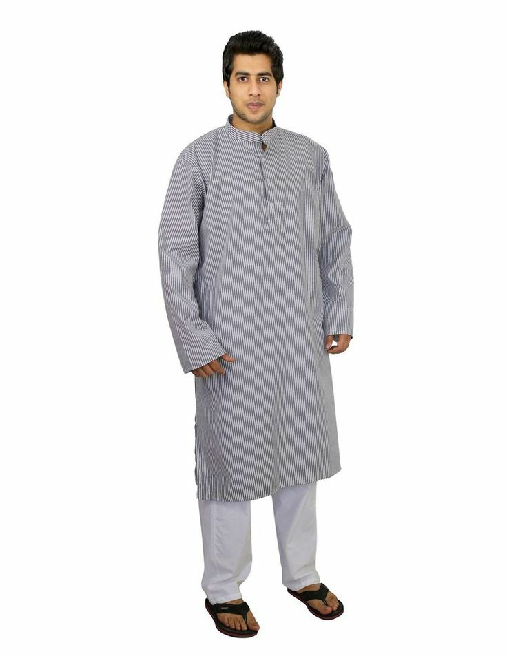 Ethnic Outfit Kurta Pajama Set For Men Cotton Fabric Long Sleeves Size Xl