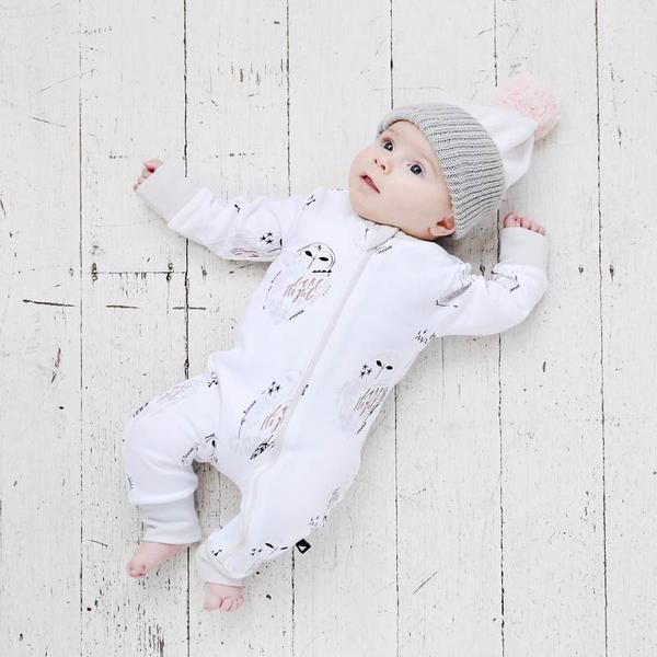 Anarkid Winter Owl Zip Romper in White