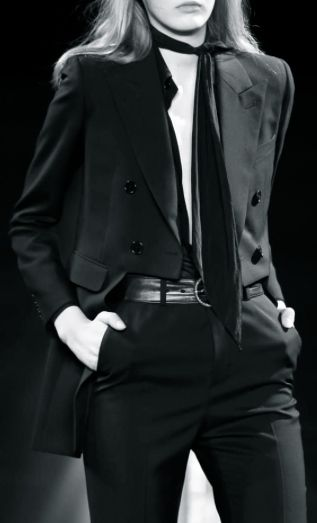 Saint Laurent   Spring 2015. Sprezzatura is the art of combining quality fabrics by mixing beautiful patterns to produce effortless european chic, a style for men and women alike  - Loved by www.scarfring.com