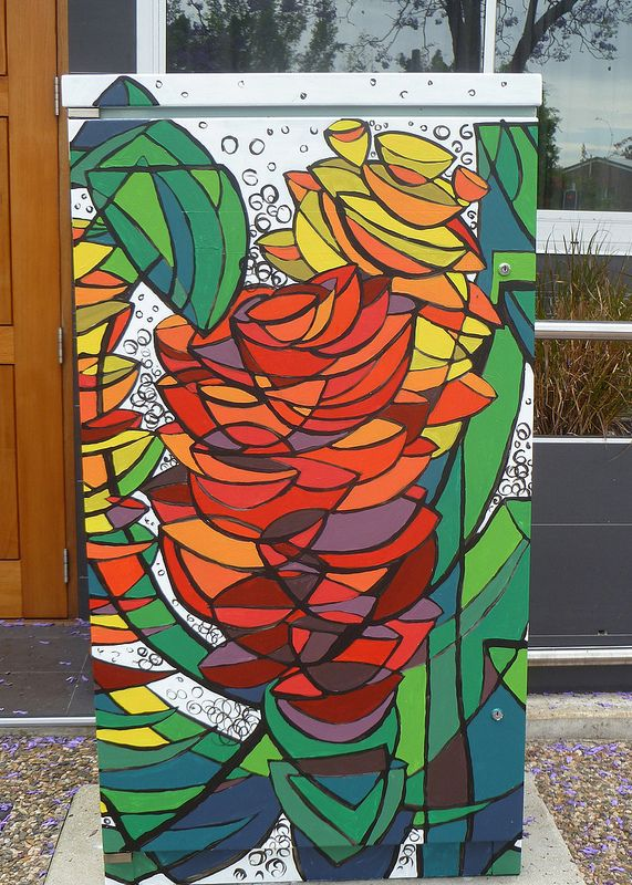 This traffic signal box design is calleed Humble Beginnings. You can find it at Logan Road and Montague Street, Greenslopes. #brisbanepublicart
