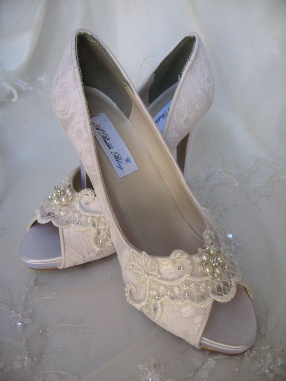 wedding shoes ivory or white bridal shoes with lace and swarovski cry