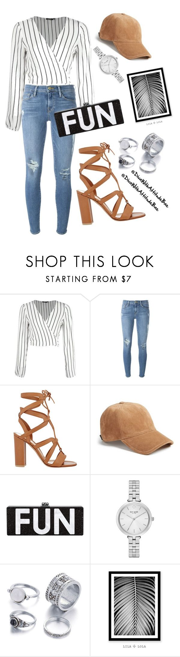 """""""Kekra_Faut Que Je Fasse'🎶"""" by divawithattitudebae ❤ liked on Polyvore featuring Boohoo, Frame, Gianvito Rossi, rag & bone, Kate Spade and WALL"""