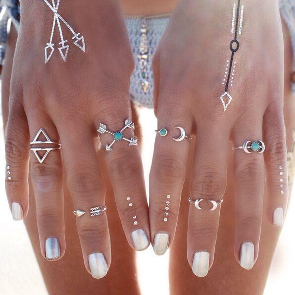 Анель старинные панк костяшки мода кольцо для женщин 2015 Anillos Aneis миди середине луна стрелка кольца 6 шт. anelli Bague роковой купить на AliExpress
