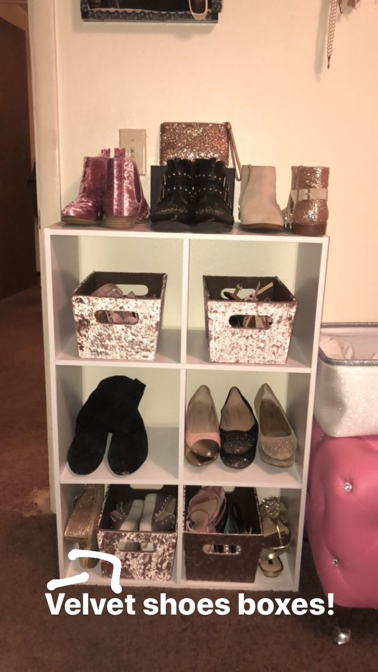 Velvet shoe boxes found at Tj Max! 6 cubes shelves found at Big lots