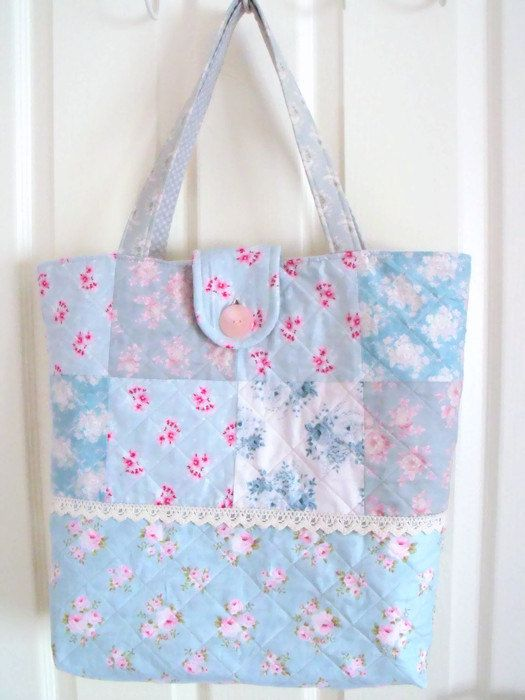 Tilda quilted cotton shopping bag large by FingerPrickingGood