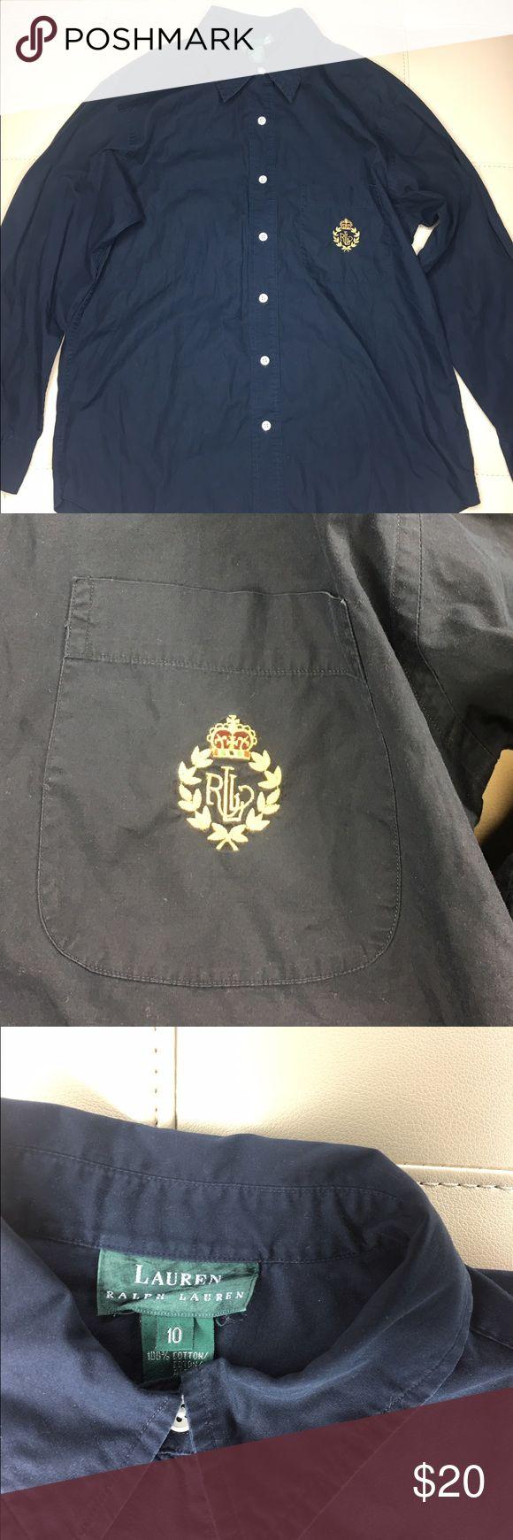 "Ralph Lauren women's dress shirt navy blue 🔴Ralph Lauren  🔴Navy Blue  🔴mint condition  🔴Unique emblem on chest  🔴pit to pit - 18.5"" 🔴Length - 28.5"" Ralph Lauren Tops Button Down Shirts"