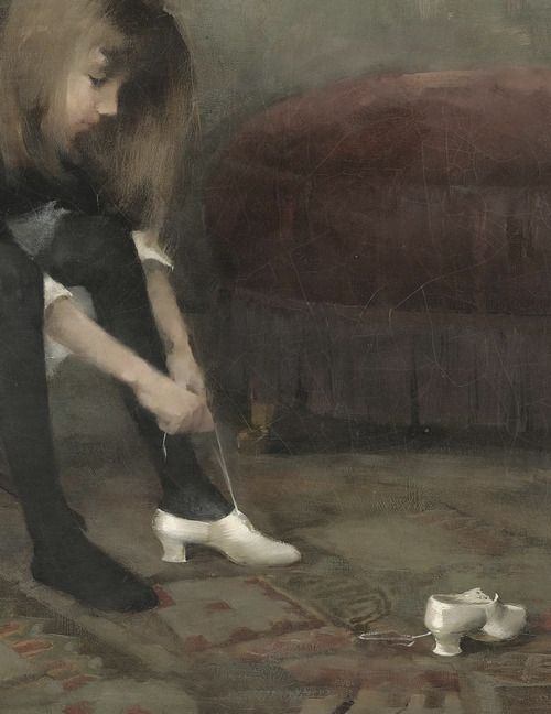 detail of dancing shoes by helene schjerfbeck