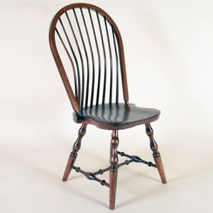 "Custom Classic Colonial Bow-Back Windsor Chair - ""It's beautiful! The craftsmanship is precise. Overall the chair is sculptured and symmetrical. The turning, shaping, and edge details are just right... My wife and I have tried the fit of the chair and it is very good... It's hard to get a chair that fits short people and much harder to get a dining chair with the back support provided by the curved spindles on this chair. Thank you... ...I am completely satisfied."" - Gary Taylor"