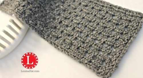 Loom knit the Open weave stitch is a mix between a basket weave and a lace. Great texture perfect without being closed and dense. Free pattern and video