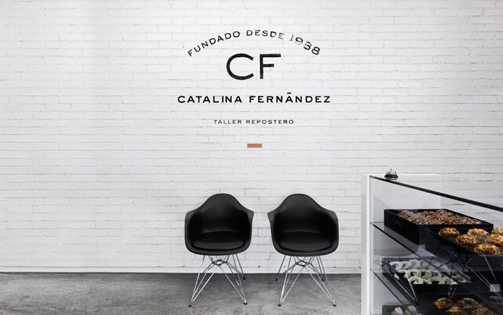 ++ catalina fernandez pastry boutique: Interior Design, Logo, Graphic, Brick Wall, Catalina Fernández, White Brick
