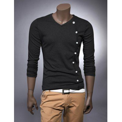 Fashion Style V-Neck Buttons Embellished Long Sleeves Cotton Men's T-shirt-10.55 and Free Shipping| GearBest.com