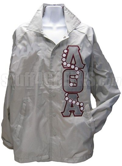 Lambda Theta Alpha Greek Letter Line Jacket with Pearls Thru, Gray  Item Id: PRE-XJ-LQA-LTR-PEARL-THRU-GRY  Price:  $89.00