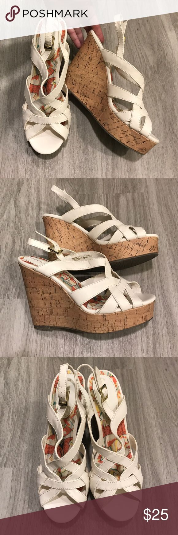 Madden Girl Strappy Wedge Sandals, White Super cute, but I don't wear heels often enough. These are very sturdy and well-made, much heavier than cheap wedges are. Very comfortable. Only worn once or twice. Madden Girl Shoes Wedges