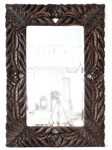 leaf design carved wooden mirror