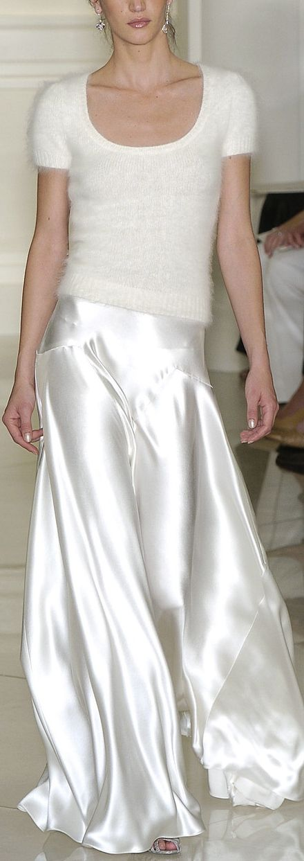 Ralph Lauren wearing whites, silks in white, romantic silk skirt, brides maids outfit in winter white
