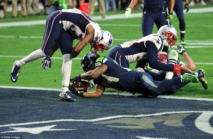 Touchdown! The Seattle Seahawks have bounced back against the New England Patriots - as the Super Bowl has got off to a nail-biting start. During the second quarter, Chris Matthews threw the ball to Marshawn Lynch, who then scored a three-yard touchdown (pictured)