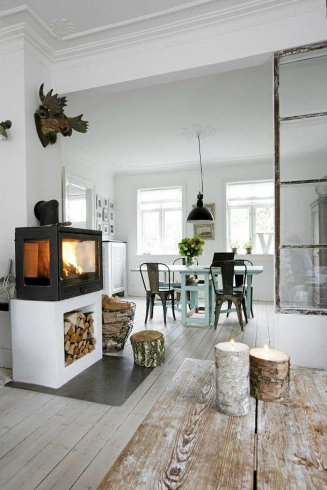 13 Wood Stove Decor Ideas for Your Home via Brit + Co