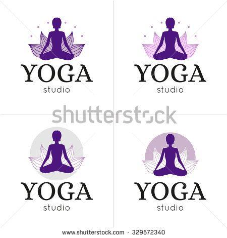 Vector yoga studio logos set. Lotus yoga pose logo.Yoga maditation logo. Logo with a woman exercising yoga relaxation pose on a lotus background.
