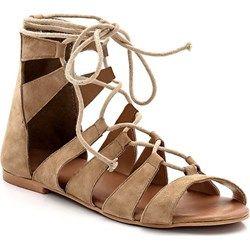 Sandały płaskie, skórzane, wstylu rzymianek, jednobarwne