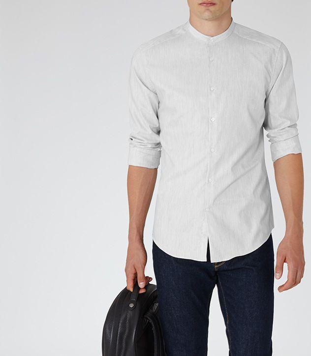 Mens Light Grey Cotton Grandad Collar Shirt - Reiss County