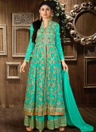 Mouni Roy Turquoise Embroidery Work Georgette Lehenga Designer Anarkali Suit http://www.angelnx.com/Salwar-Kameez/Bollywood-Salwar