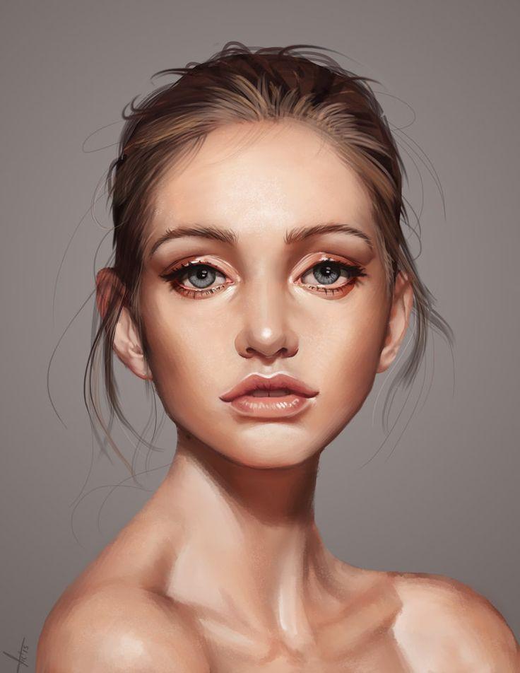 """A beautiful face"" - Victor Lozada {figurative art female head shoulders woman portrait digital painting #loveart} http://victter-le-fou.deviantart.com"